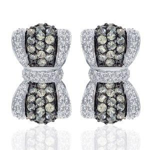 2.50 Carat Amethyst And Diamond Bow Hoop Earrings